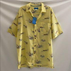 David Taylor Shirt Resort Cabana Boat Print NEW